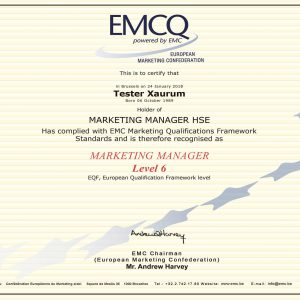Facsimile of the certificate issued in the EMCQ translation scheme run by the EMC